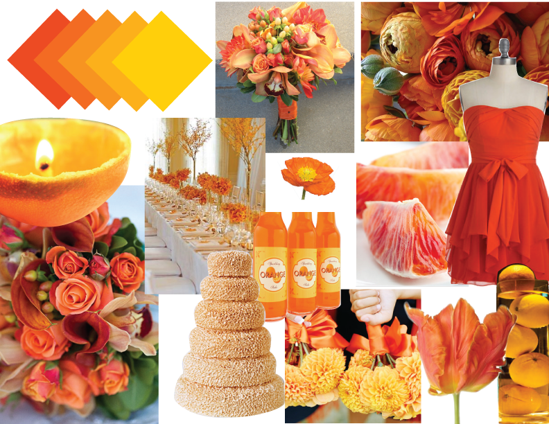 orange pink and yellow wedding centerpieces